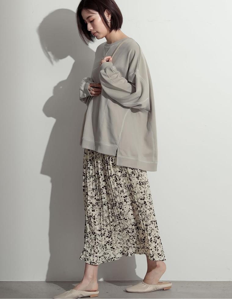 Re:EDIT‐リエディ 花柄シフォンロングプリーツスカート