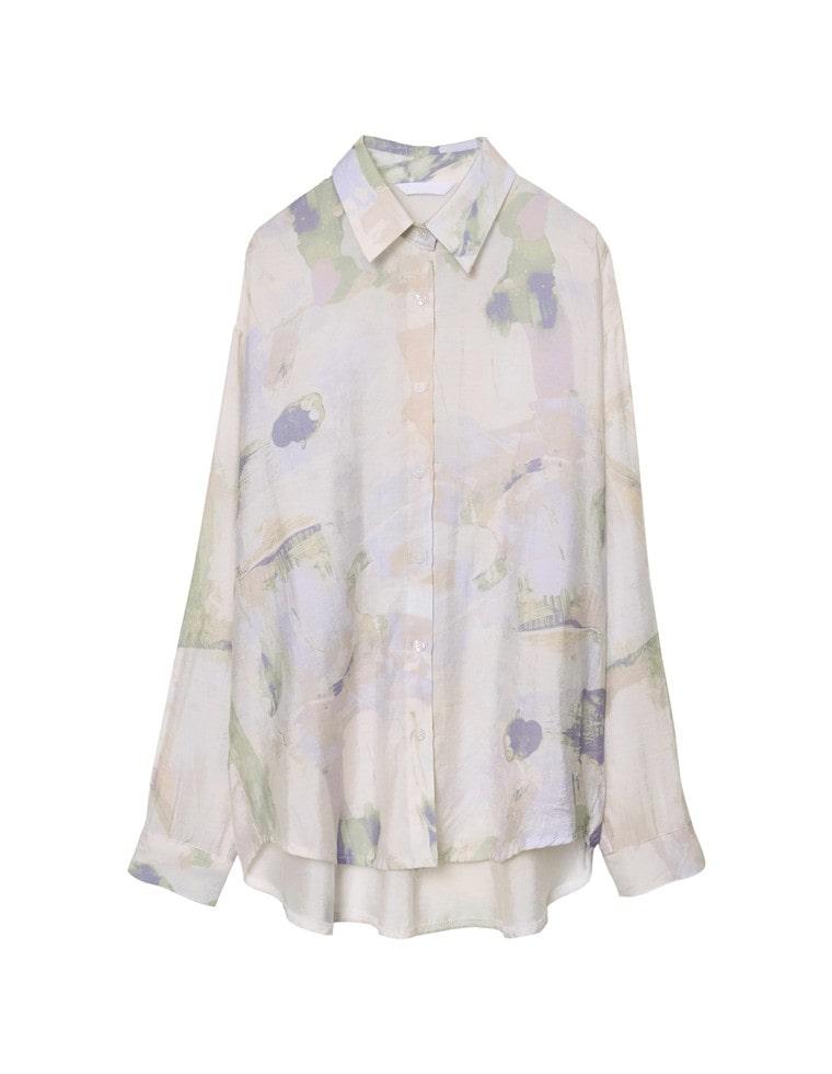 マーブル柄オーバーサイズシャツ