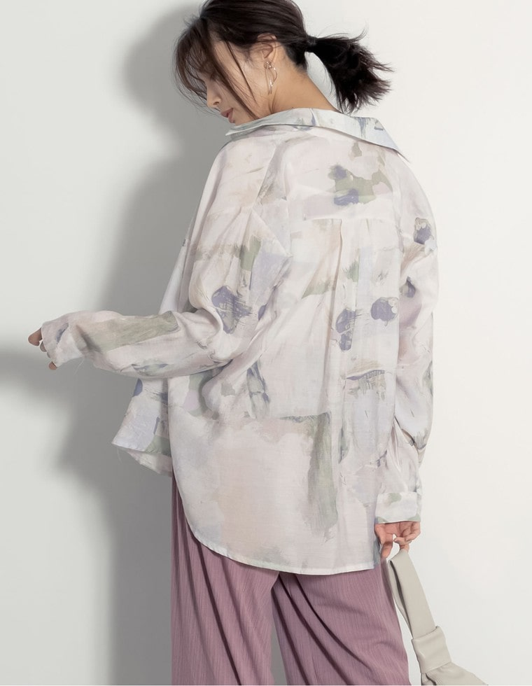 Re:EDIT‐リエディ マーブル柄オーバーサイズシャツ