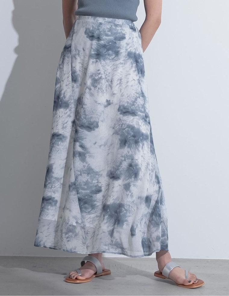 Re:EDIT‐リエディ [低身長向けSサイズ対応]タイダイ柄切り替えセミフレアスカート