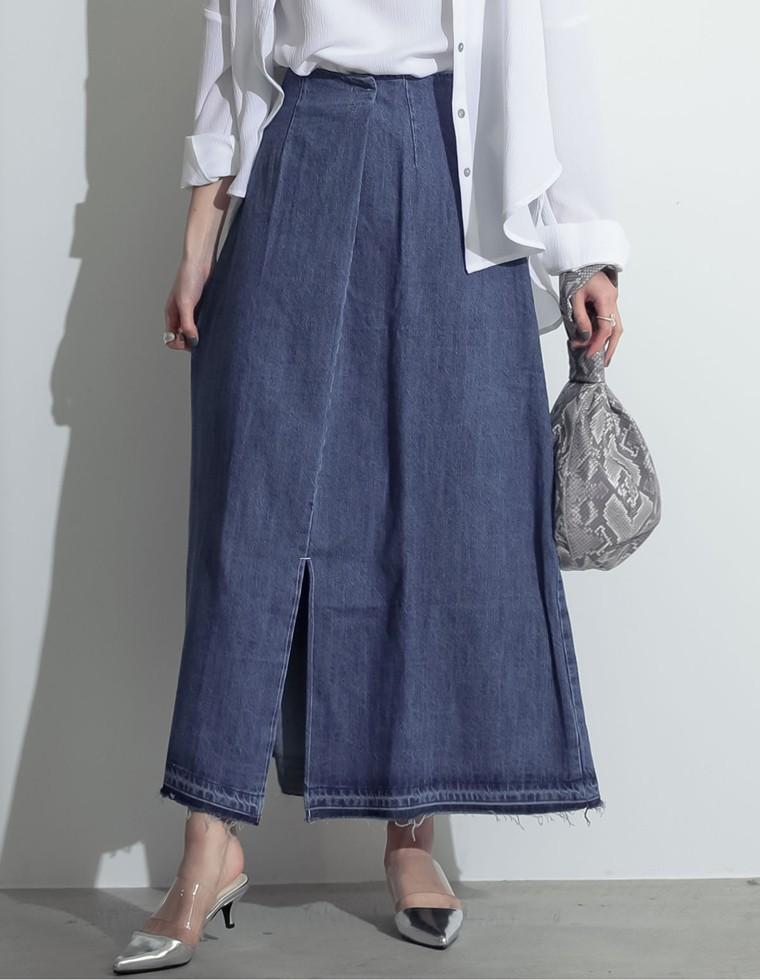 Re:EDIT‐リエディ [お家で洗える][低身長向けSサイズ対応]タックデザインフロントスリットナロースカート