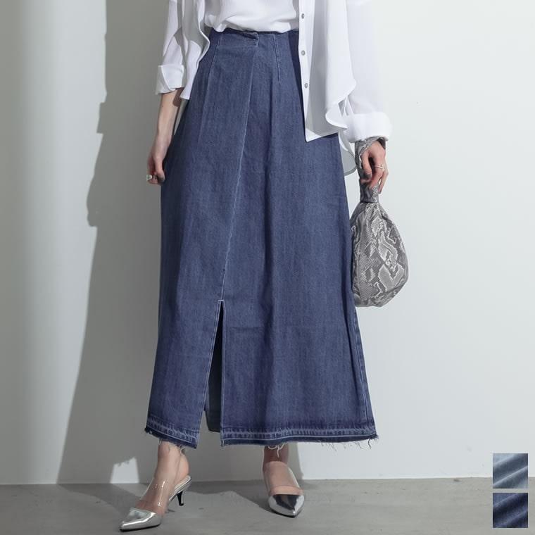 133170_[お家で洗える][低身長向けSサイズ対応]タックデザインフロントスリットナロースカート
