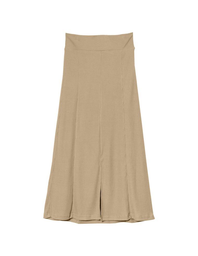[お家で洗える][人と地球にやさしい][低身長向けSサイズ対応]リサイクルワッフルフロントスリットスカート