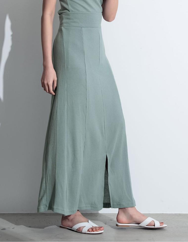 Re:EDIT‐リエディ [お家で洗える][人と地球にやさしい][低身長向けSサイズ対応]リサイクルワッフルフロントスリットスカート