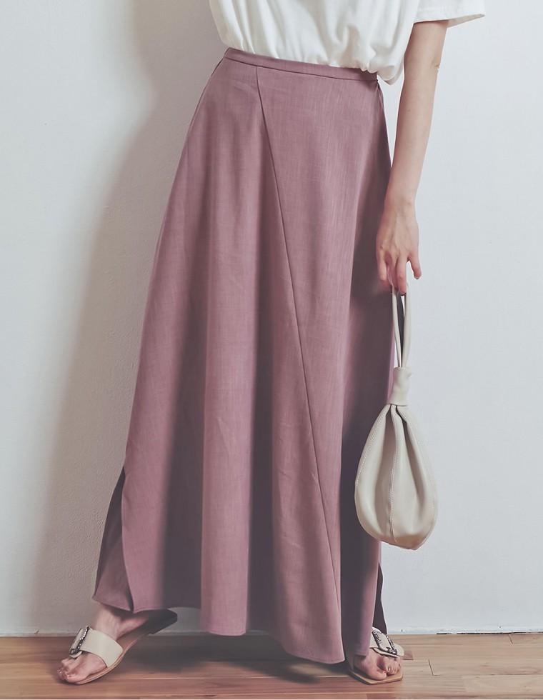 Re:EDIT‐リエディ [涼感][お家で洗える][低身長向けSサイズ対応][高身長向けMサイズ対応]リネンライクスパイラルナロースカート