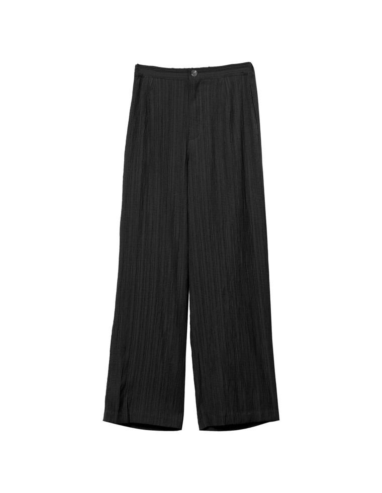 [お家で洗える][低身長向け/高身長向けサイズ対応]ジャガードストライプストレートパンツ
