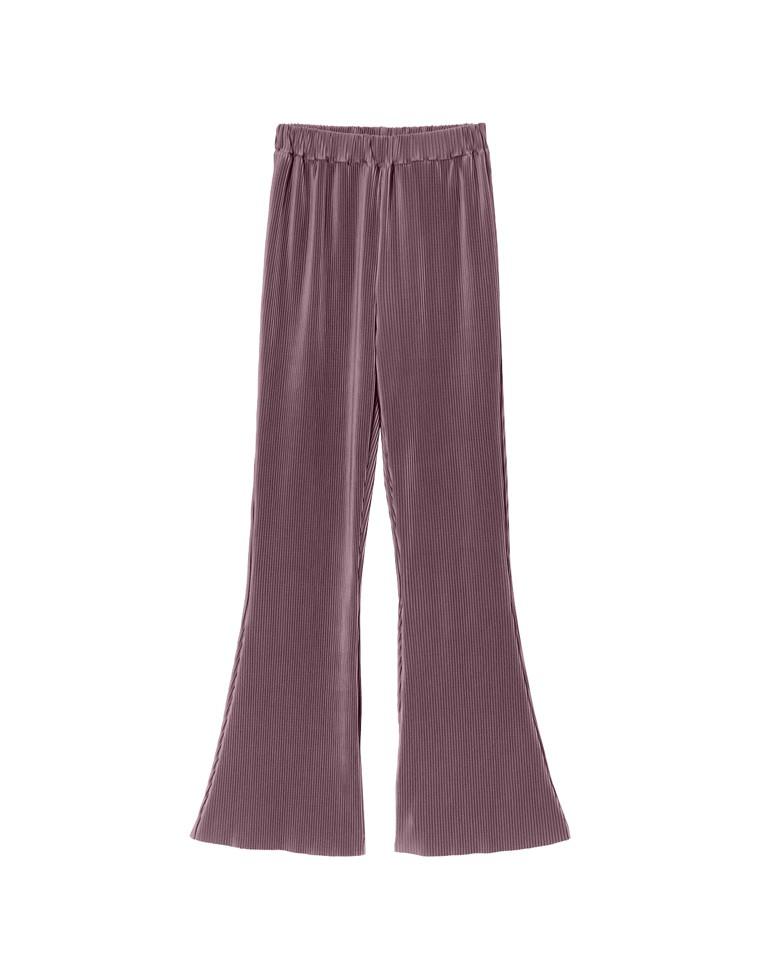 [近藤千尋さん着用][coco-eririkoさん着用][お家で洗える][低身長向け/高身長向けサイズ対応]楊柳マットプリーツキックフレアパンツ