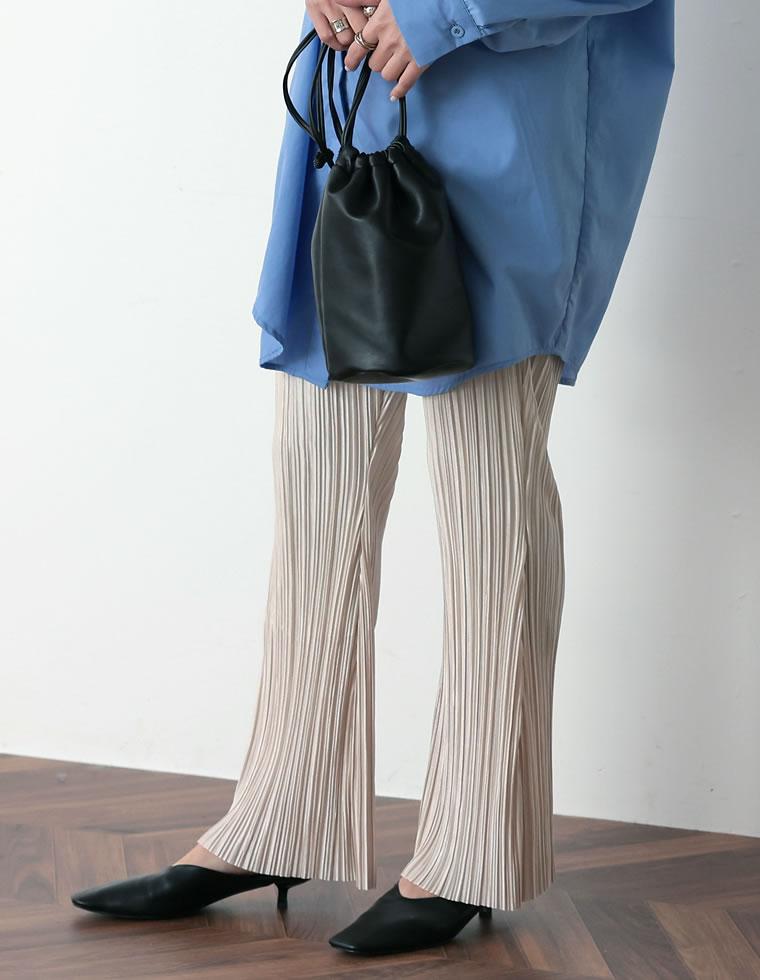 Re:EDIT‐リエディ [お家で洗える][低身長向けSサイズ対応][高身長向けMサイズ対応]楊柳マットプリーツキックフレアパンツ
