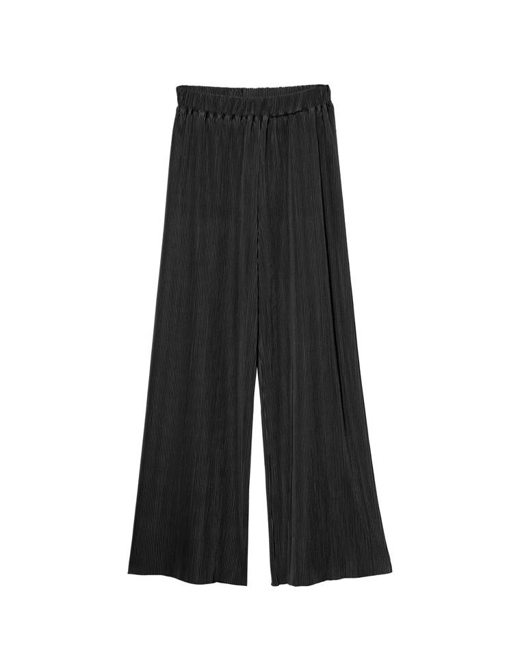 [お家で洗える][低身長向け/高身長向けサイズ対応]楊柳マットプリーツストレートパンツ