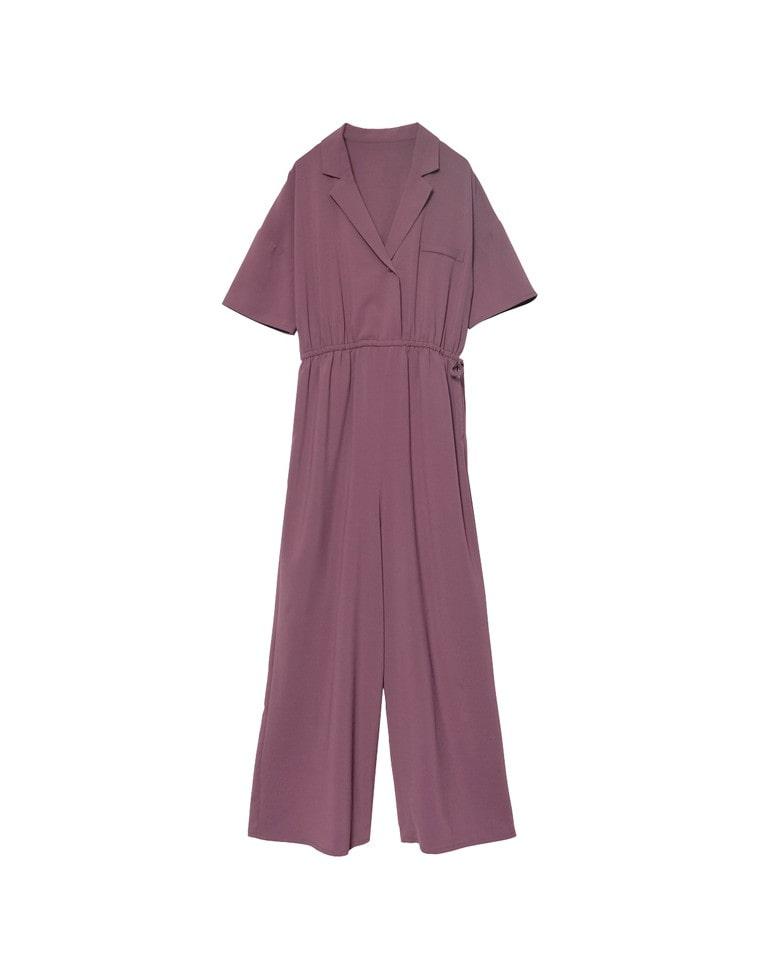 [お家で洗える][低身長向けSサイズ対応]ストレッチ開襟シャツオールインワン