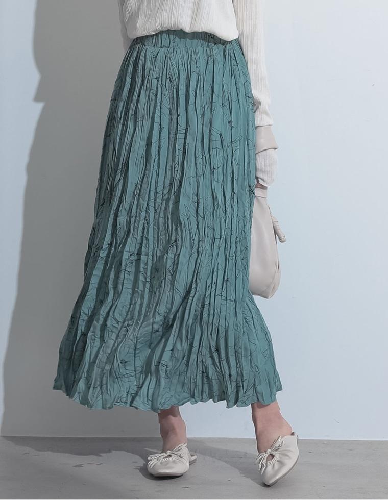 Re:EDIT‐リエディ [お家で洗える][低身長向けSサイズ対応]フラワープリントプリーツスカート