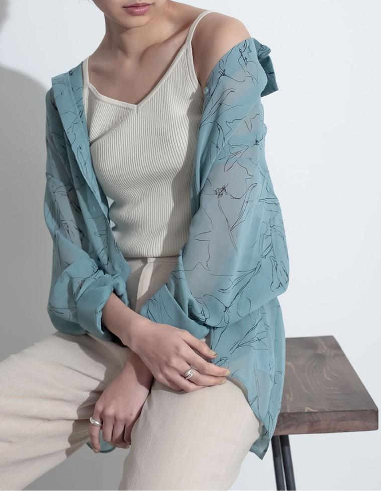 Re:EDIT‐リエディ [お家で洗える]フラワープリントシアーシャツ
