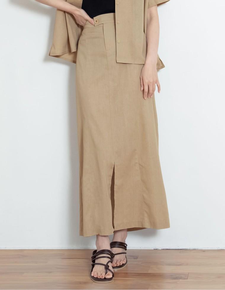 Re:EDIT‐リエディ [お家で洗える][低身長向けSサイズ対応][高身長向けMサイズ対応]リネンブレンドセンタースリットナロースカート