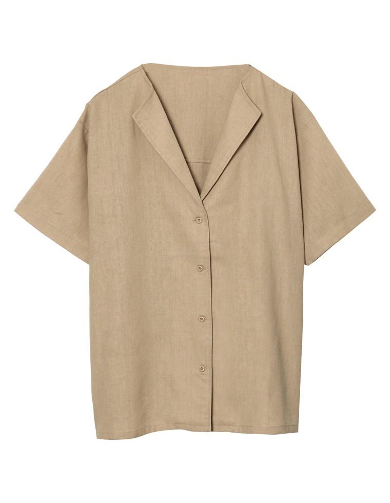 [涼感][お家で洗える]リネンブレンドセンターバックスリット半袖シャツ
