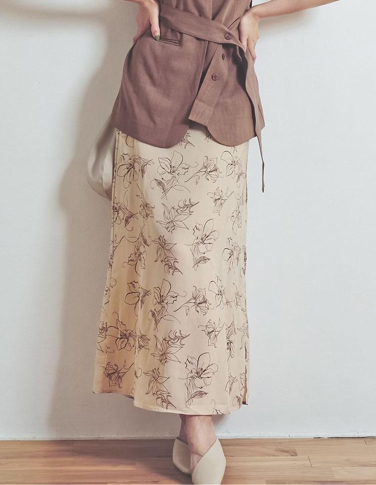 Re:EDIT‐リエディ [お家で洗える]ペインティング花柄ロングスカート