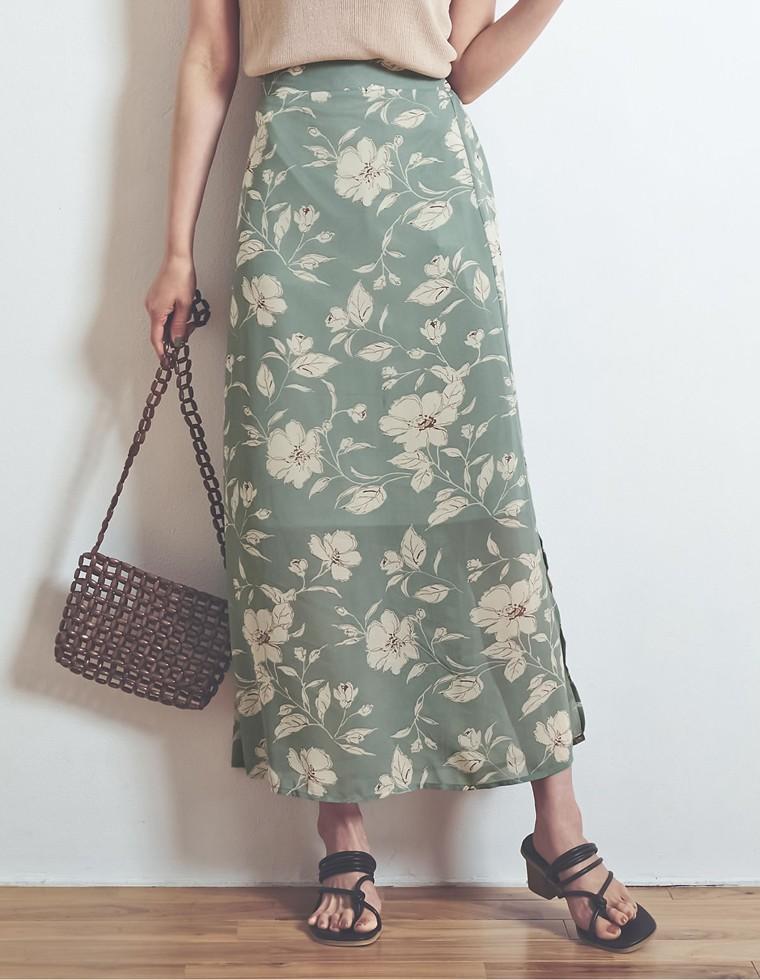 Re:EDIT‐リエディ [お家で洗える]ペインティング花柄スリットロングスカート