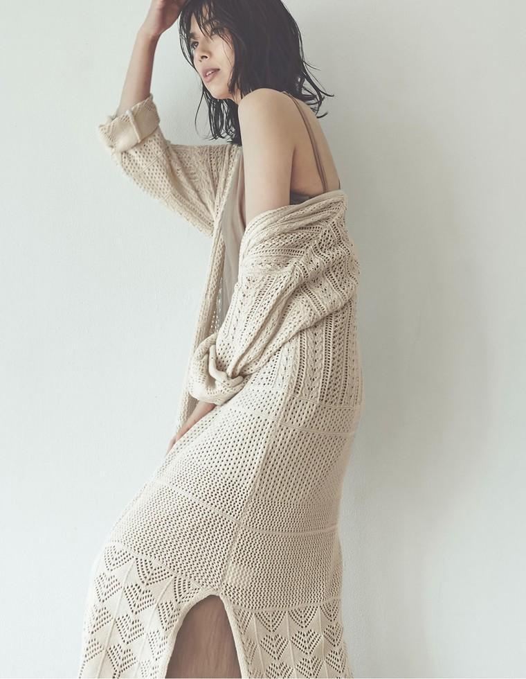 Re:EDIT‐リエディ [お家で洗える]透かし編みロングカーディガン