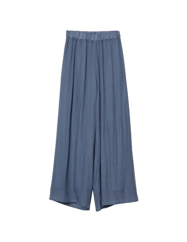 [涼感][お家で洗える][低身長向けSサイズ対応]スラブ楊柳ドロストセミワイドストレートパンツ