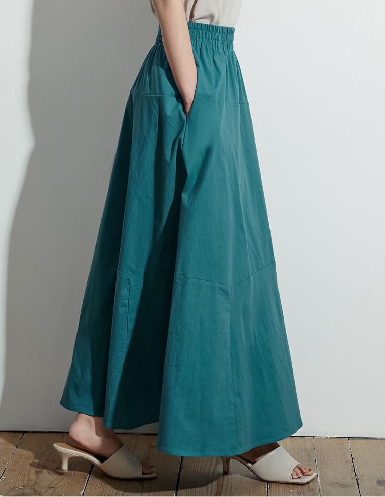 Re:EDIT‐リエディ [低身長向け/高身長向けサイズ対応][お家で洗える]リネンブレンド切替フレアスカート