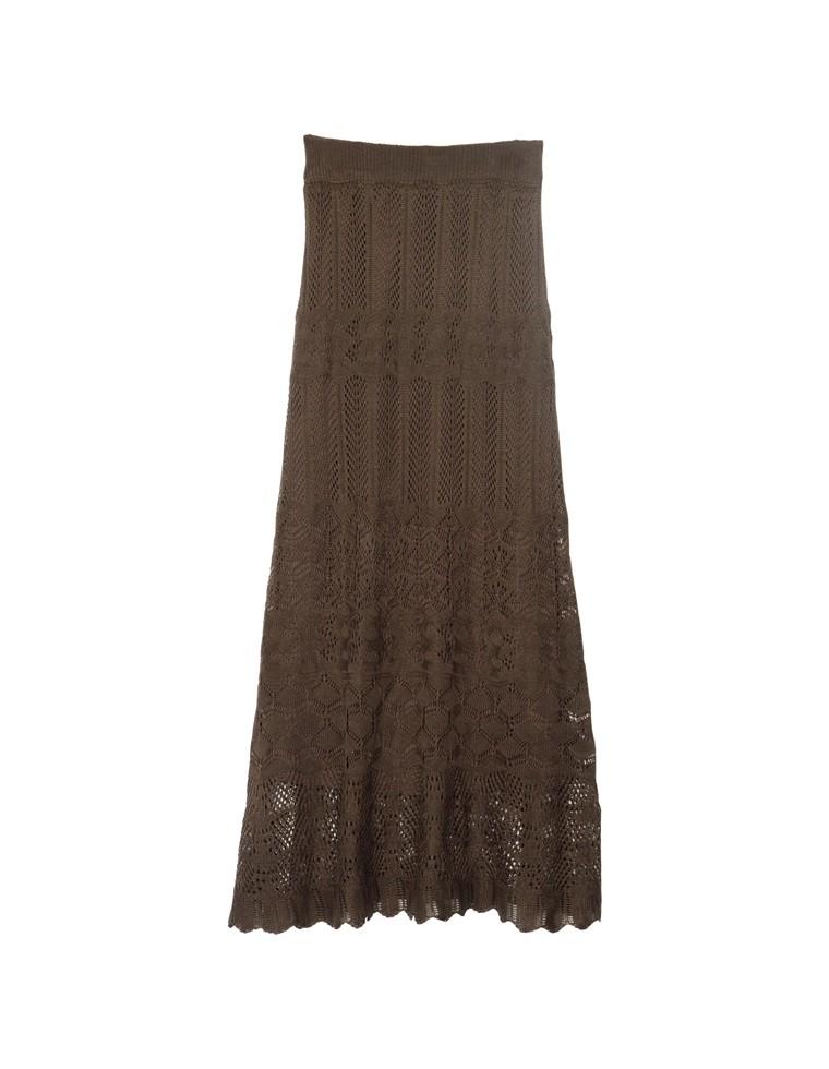 [低身長向け/高身長向けサイズ対応][お家で洗える][近藤千尋さん着用]かぎ編みナローロングニットスカート