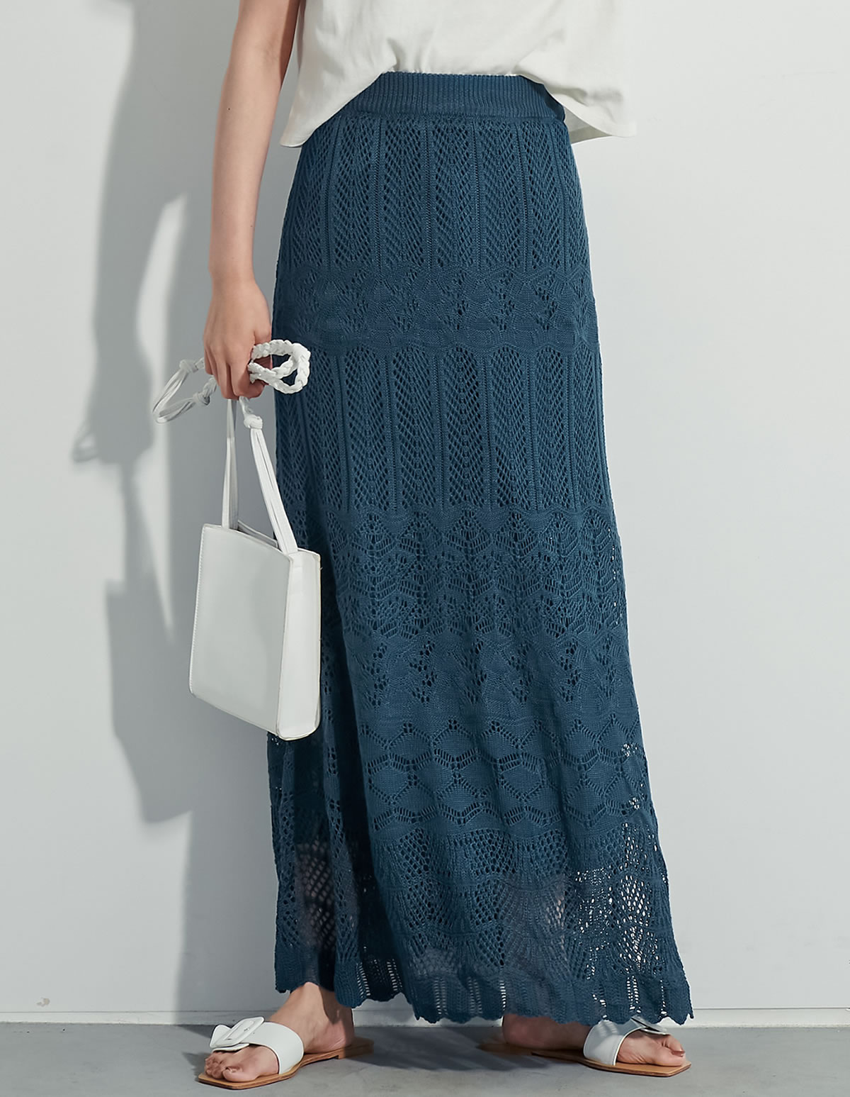 Re:EDIT‐リエディ [低身長向け/高身長向けサイズ対応][お家で洗える][近藤千尋さん着用]かぎ編みナローロングニットスカート