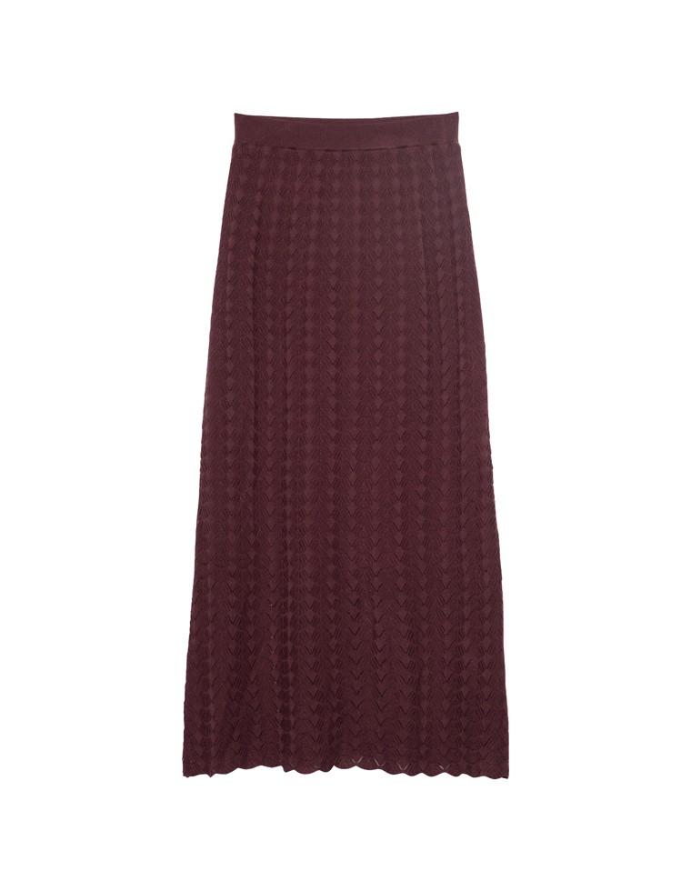 [人と地球にやさしい][低身長向け/高身長向けサイズ対応]クロシェ柄編みロングフレアスカート