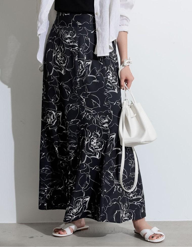 Re:EDIT‐リエディ [お家で洗える][低身長向け/高身長向けサイズ対応]花柄ロングハイウエストナロースカート