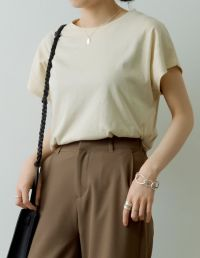 [UVカット][抗菌防臭加工]フレンチスリーブコットンTシャツ