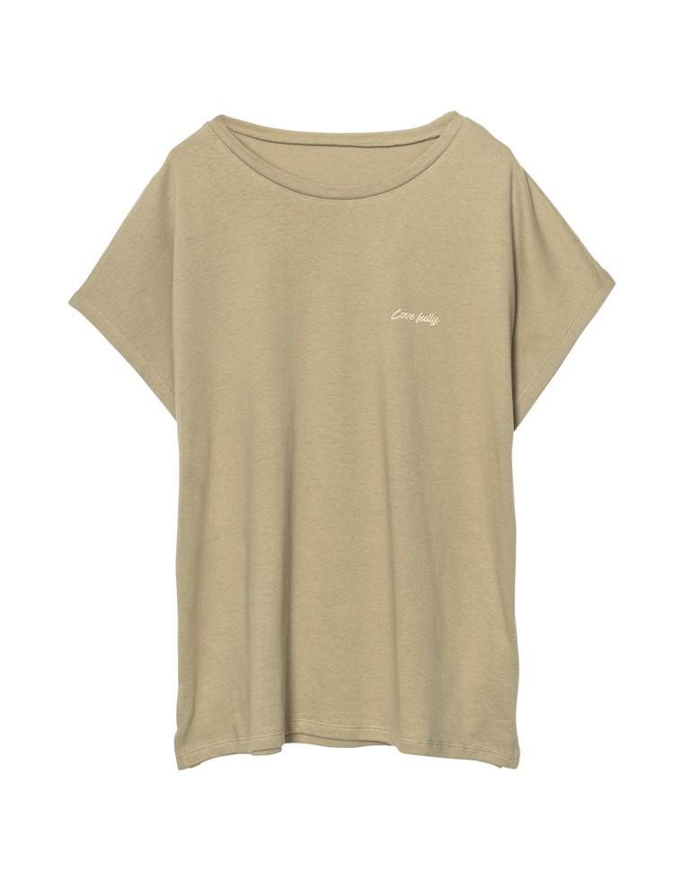[UVカット][抗菌防臭][お家で洗える]フレンチスリーブフロントロゴTシャツ