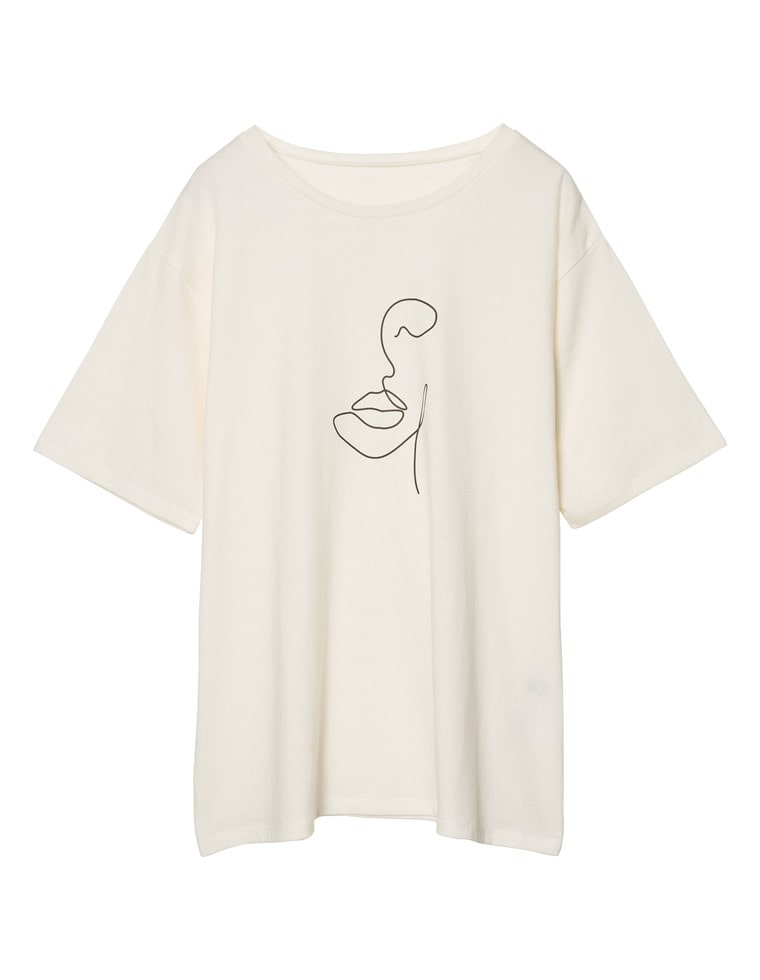 [yuricookieさん着用][UVカット][抗菌防臭加工][お家で洗える]クルーネックニュアンスフェイスプリントTシャツ
