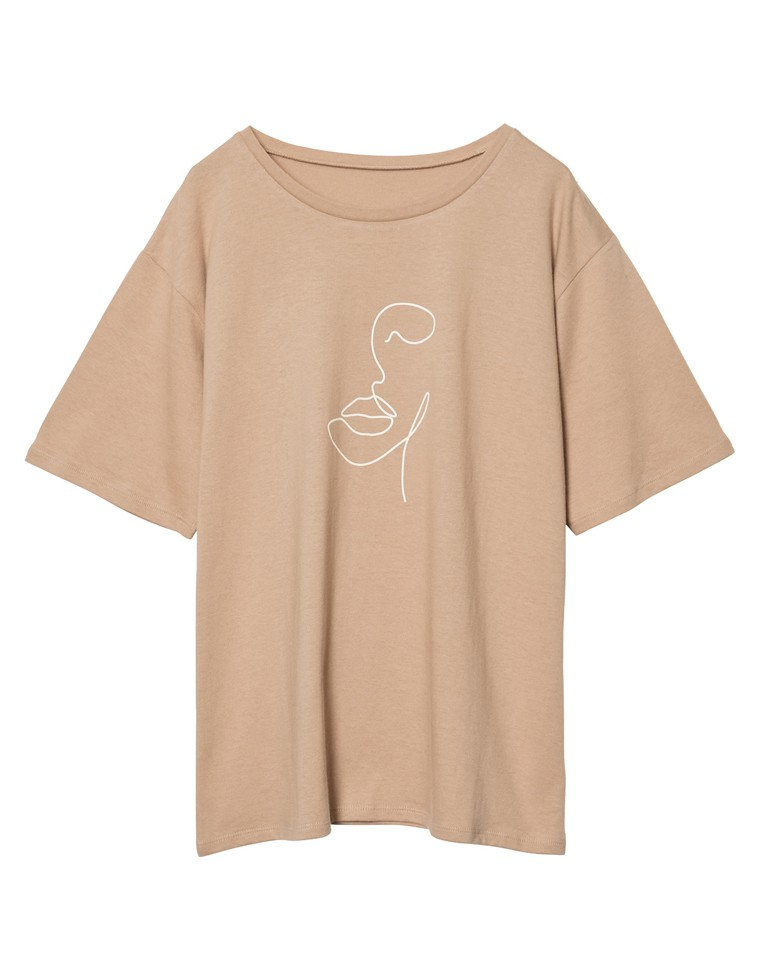 [UVカット][抗菌防臭加工][お家で洗える]クルーネックニュアンスフェイスプリントTシャツ