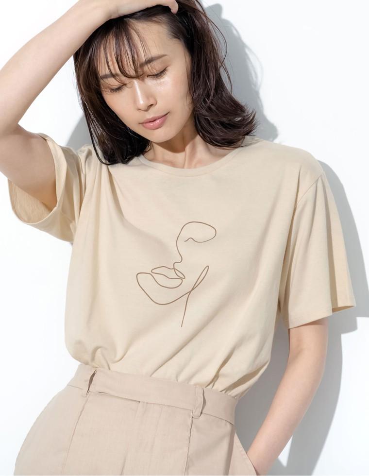 Re:EDIT‐リエディ [UVカット][抗菌防臭加工][お家で洗える]クルーネックニュアンスフェイスプリントTシャツ