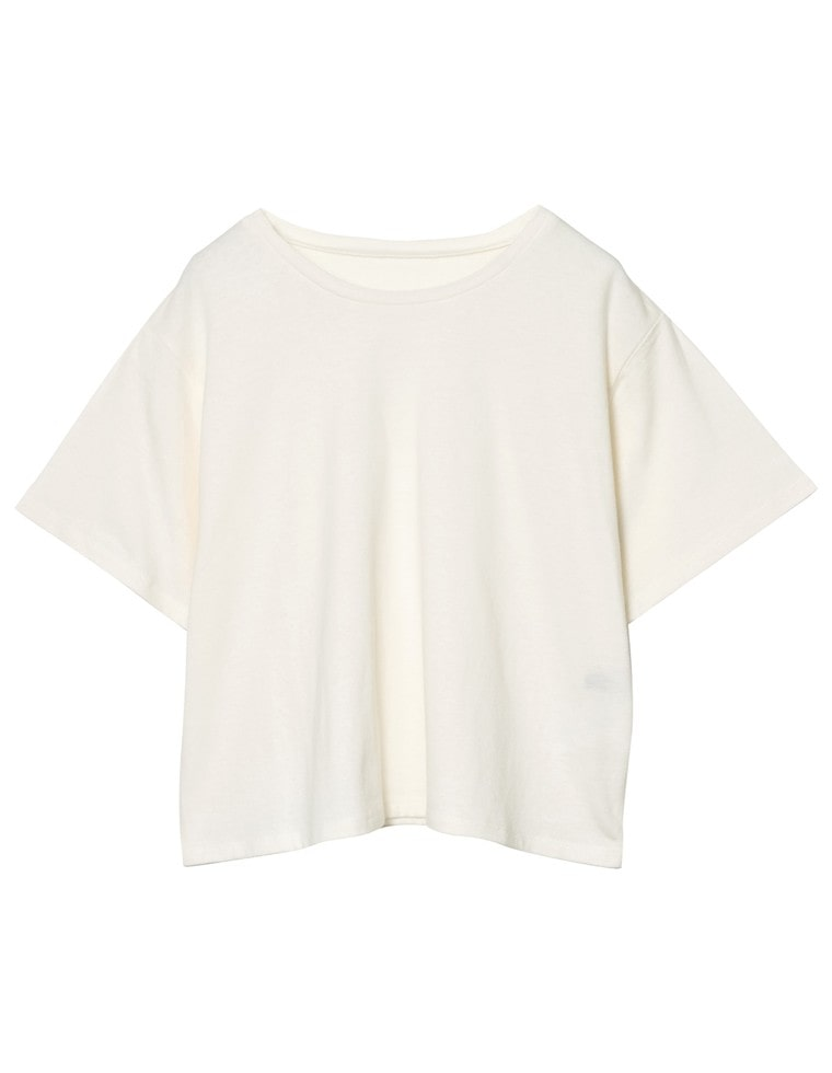 [UVカット][抗菌防臭][お家で洗える]クルーネックショート丈Tシャツ