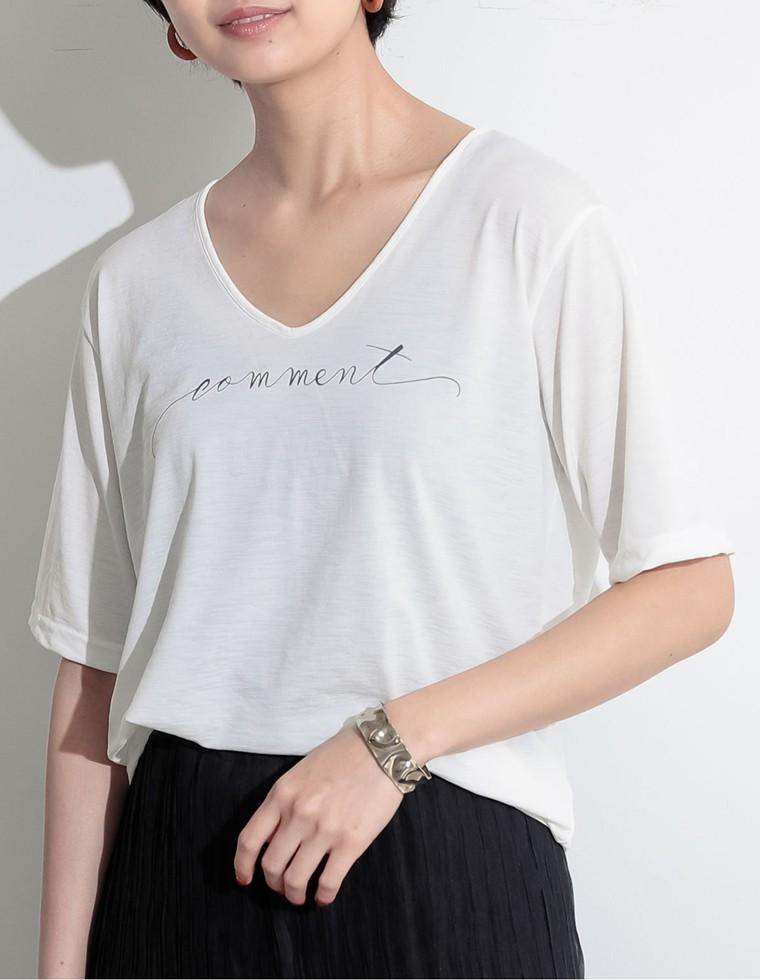 Re:EDIT‐リエディ [お家で洗える]Vネック英字メッセージロゴTシャツ