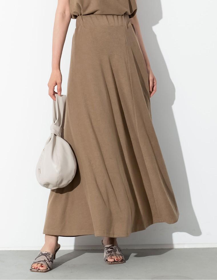 Re:EDIT‐リエディ [接触冷感][お家で洗える][低身長向けSサイズ対応]リブカットソーセミフレアスカート