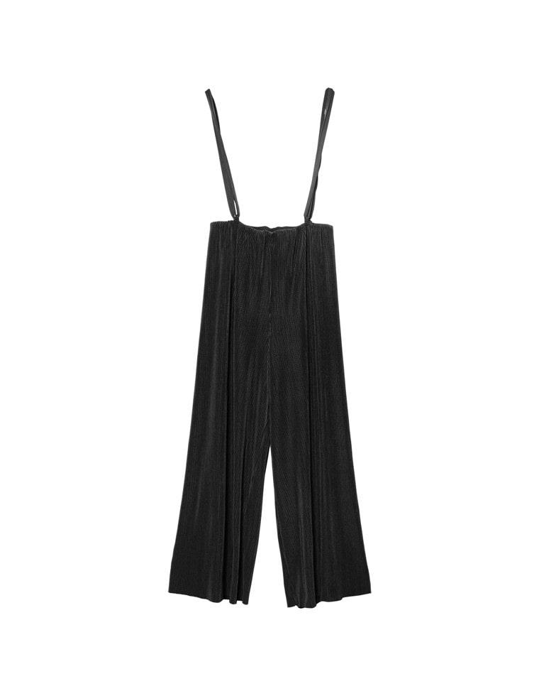 [yuricookieさん着用][低身長向けSサイズ対応][お家で洗える]マットプリーツハイウエストオールインワン