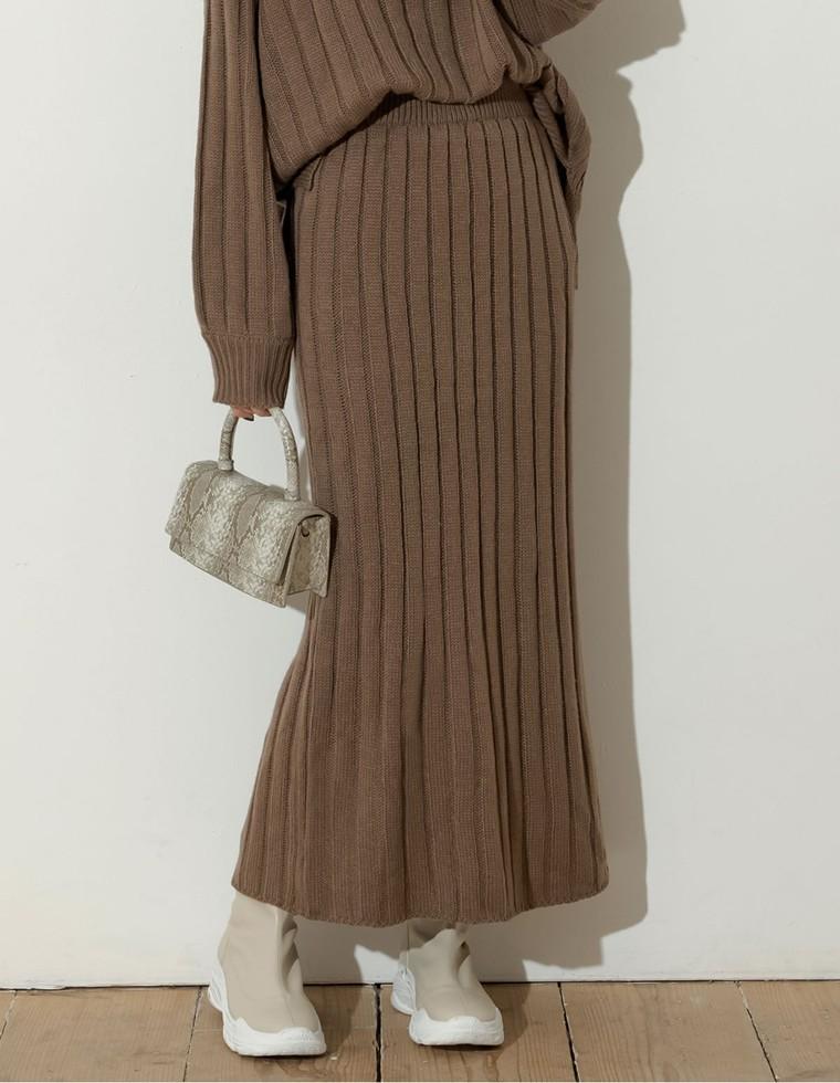Re:EDIT‐リエディ [低身長向けSサイズ対応]バルキーワイドリブニットスカート