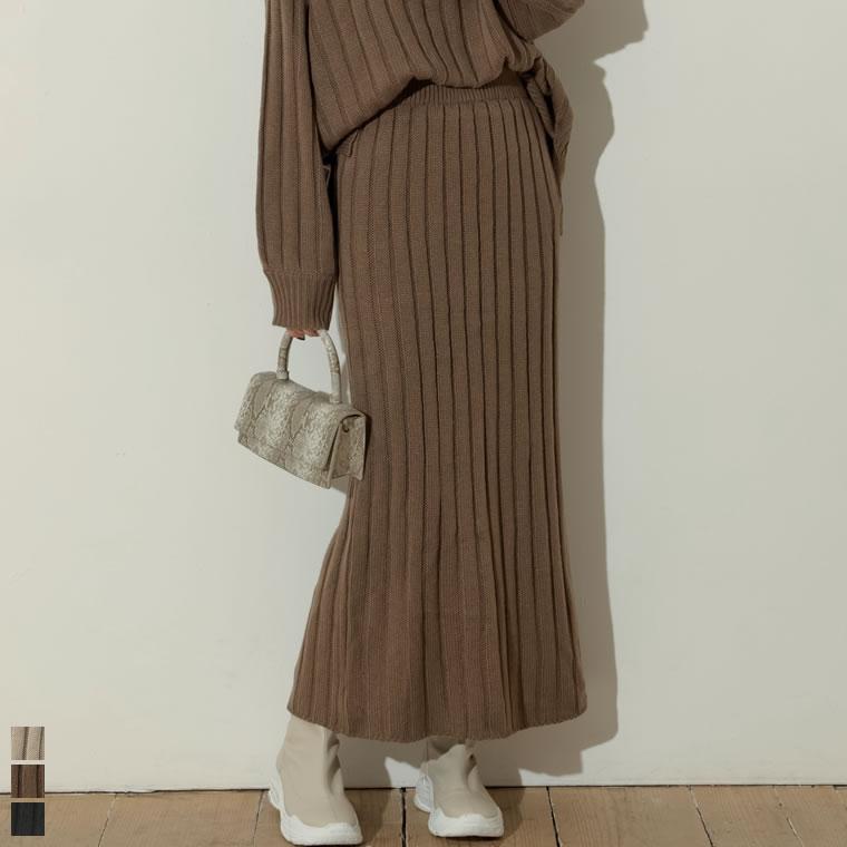 133346_[低身長向けSサイズ対応]バルキーワイドリブニットスカート