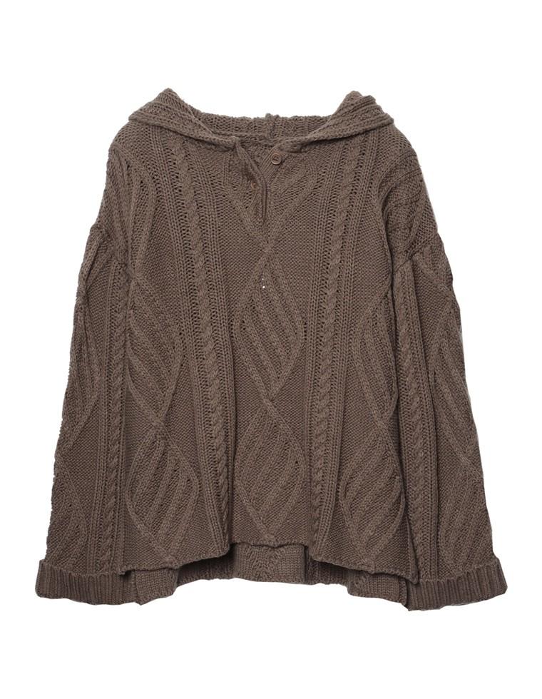 [サステナブル]ケーブル編みバルキーニットフーディー