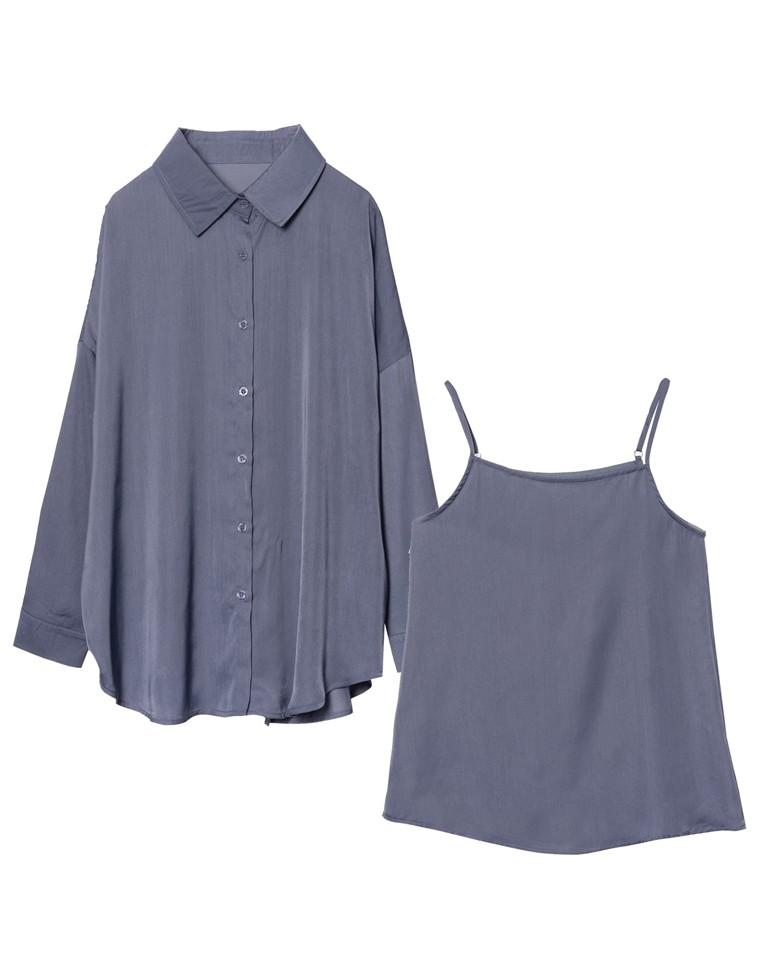 [星玲奈さん着用][2点SET]ヴィンテージサテンシャツ×キャミソールアンサンブル