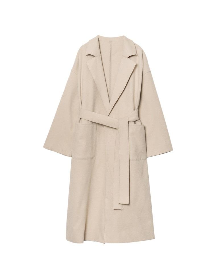 [高橋ユウさん着用][低身長向けSサイズ有]ダブルフェイス軽量ガウンコート