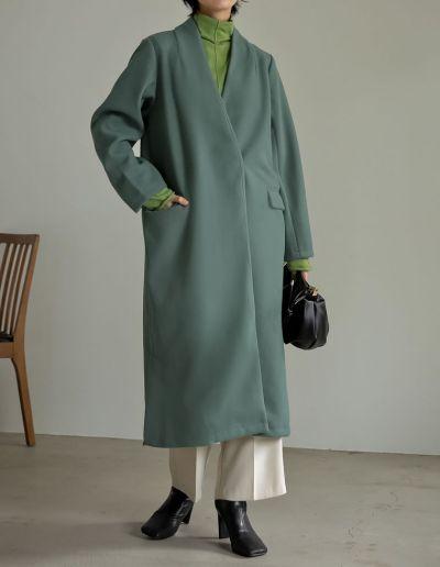 [低身長向けSサイズ対応]ストレッチフェイクウールノーカラーロングコート