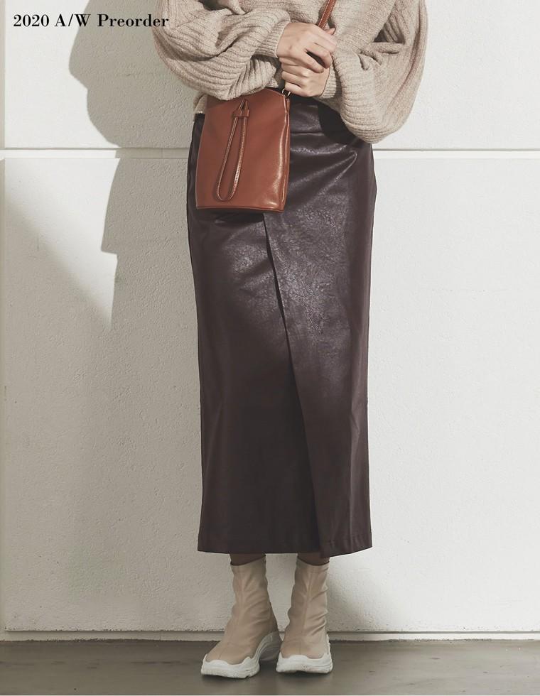 Re:EDIT‐リエディ [2020A/W PRE ORDER][低身長向けSサイズ対応]ヴィーガンレザーラップ風タイトスカート