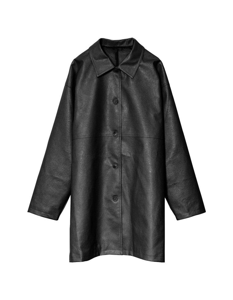 [お家で洗える]フェイクレザーステンカラーハーフコート