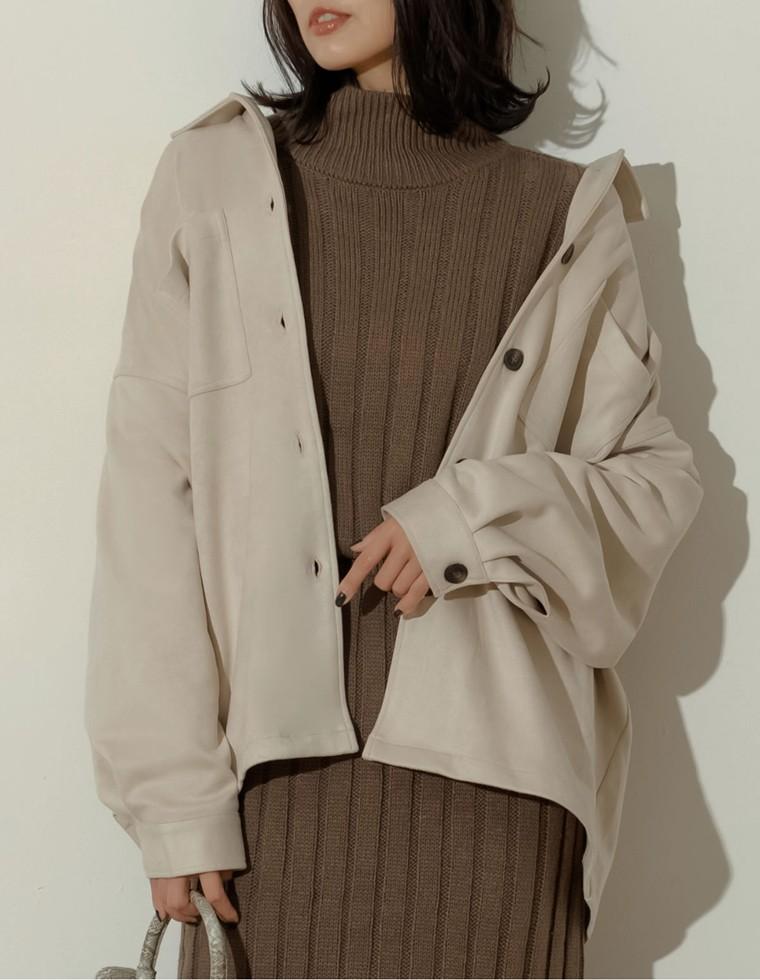 Re:EDIT‐リエディ [お家で洗える]カットスウェードシャツジャケット