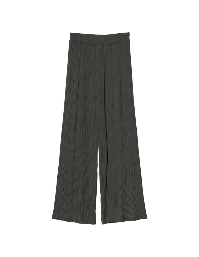 [低身長向け/高身長向けサイズ対応]マットサテンプリーツストレートパンツ