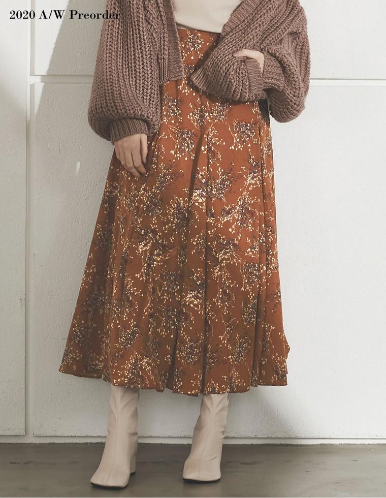 Re:EDIT‐リエディ [2020A/W PRE ORDER][低身長向けSサイズ対応]ニュアンス花柄フレアロングスカート