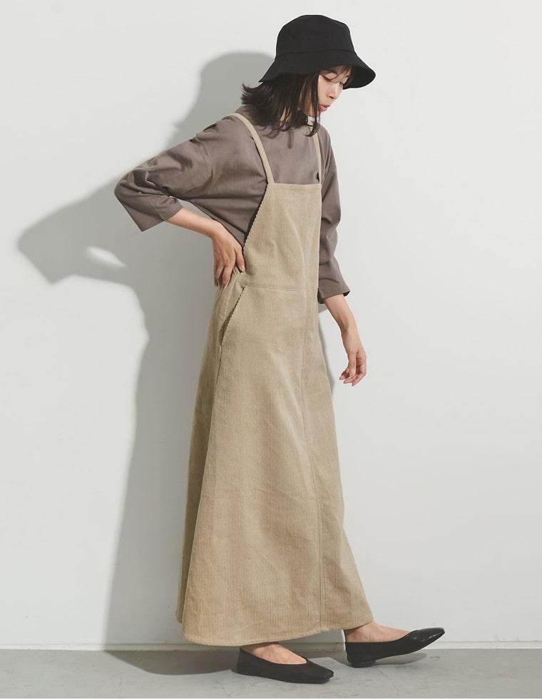 Re:EDIT‐リエディ [低身長向けSサイズ対応]太コーデュロイジャンパースカート