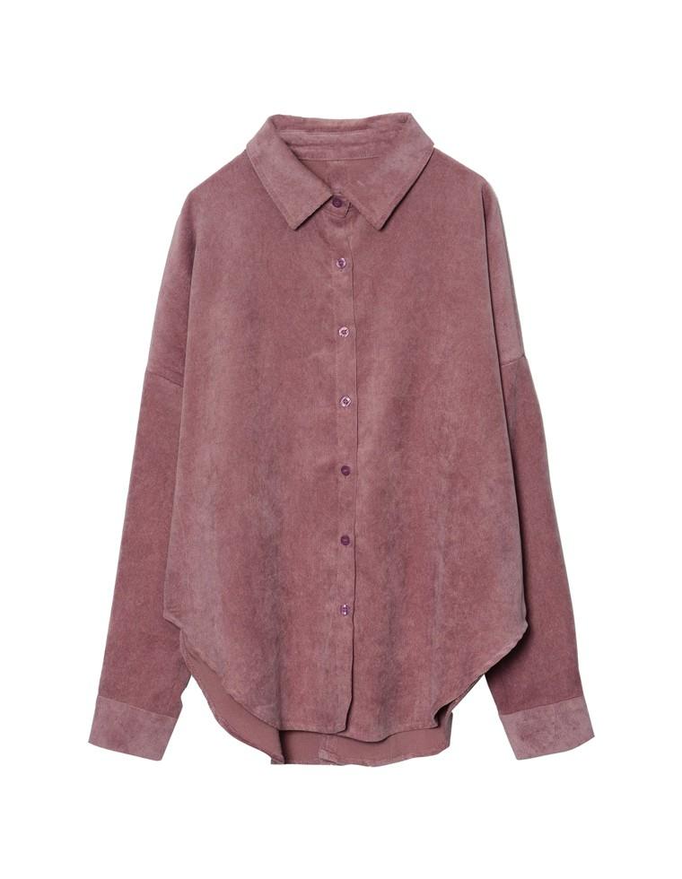 [お家で洗える]細コーデュロイバックリボンオーバーシャツ