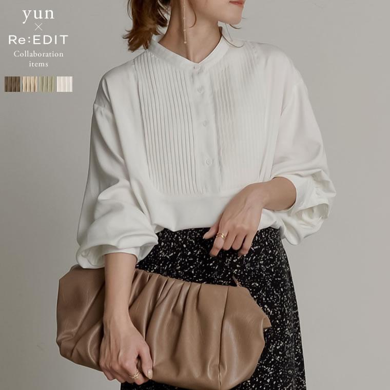 133548_[yun×Re:EDIT(リエディ)コラボ][低身長向けSサイズ対応]ピンタックプザムシャツ